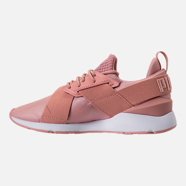 Left view of Women's Puma Muse Satin EP Casual Shoes in Peach Beige/Puma White