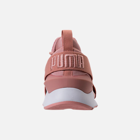 Back view of Women's Puma Muse Satin EP Casual Shoes in Peach Beige/Puma White