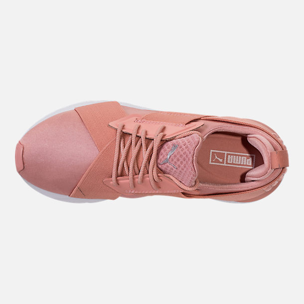 Top view of Women's Puma Muse Satin EP Casual Shoes in Peach Beige/Puma White