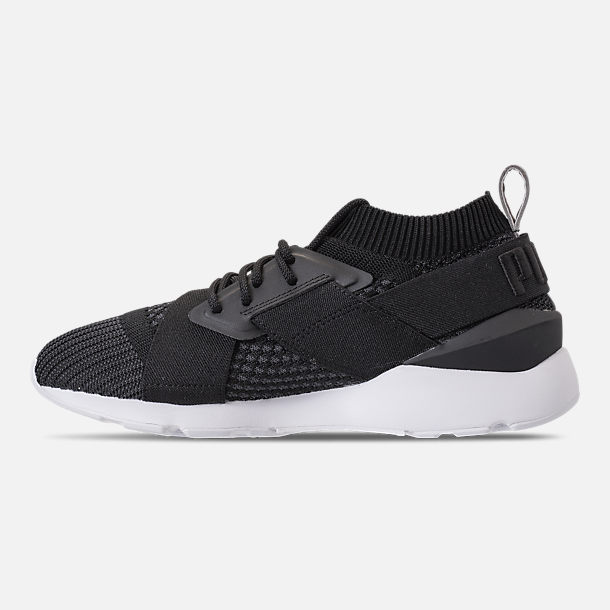 Left view of Women's Puma Muse evoKNIT Training Shoes in Black Asphalt