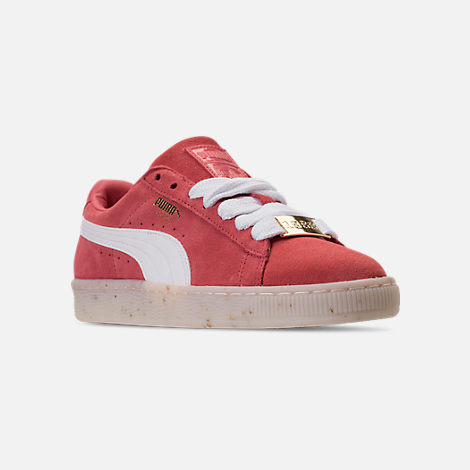 Three Quarter view of Women's Puma Suede Classic Fabulous Casual Shoes in Spiced Coral