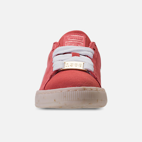 Front view of Women's Puma Suede Classic Fabulous Casual Shoes in Spiced Coral