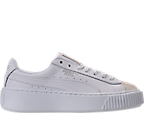 Girls' Grade School Puma Basket Platform Glitz Casual Shoes