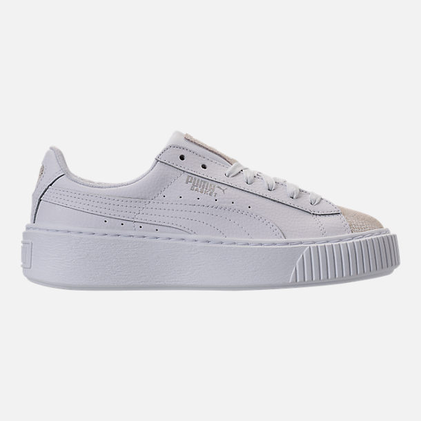 Right view of Girls' Grade School Puma Basket Platform Glitz Casual Shoes in White/White