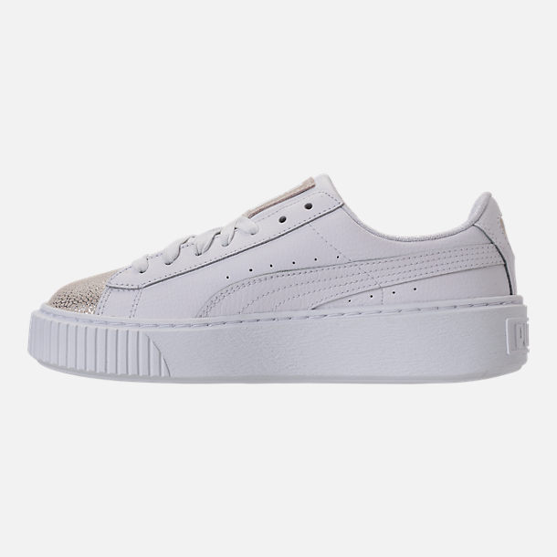 Left view of Girls' Grade School Puma Basket Platform Glitz Casual Shoes in White/White