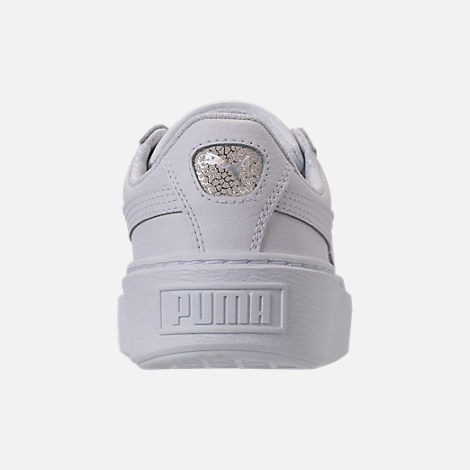 Back view of Girls' Grade School Puma Basket Platform Glitz Casual Shoes in White/White