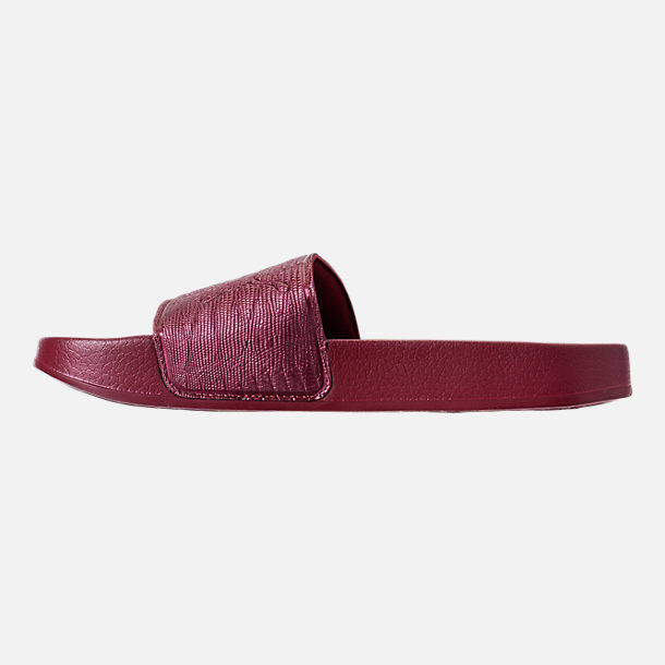 Left view of Women's Puma Leadcat Leather Slide Sandals in Cordovan