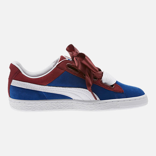 Right view of Women's Puma Basket Heart Color Blocked Casual Shoes in True Blue/Cabaret