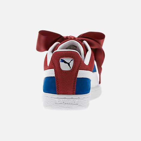Back view of Women's Puma Basket Heart Color Blocked Casual Shoes in True Blue/Cabaret