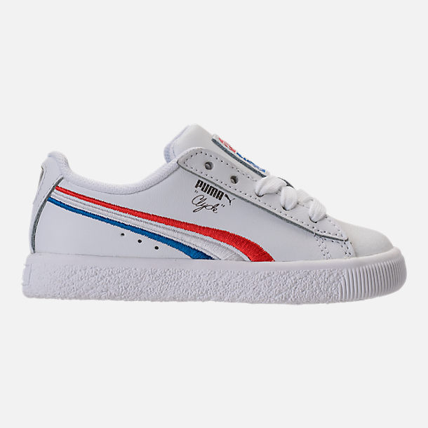Right view of Boys' Toddler Puma Clyde Casual Shoes in White/Red/Blue