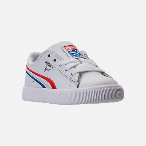 Three Quarter view of Boys' Toddler Puma Clyde Casual Shoes in White/Red/Blue