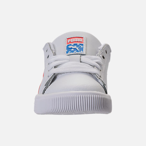 Front view of Boys' Toddler Puma Clyde Casual Shoes in White/Red/Blue