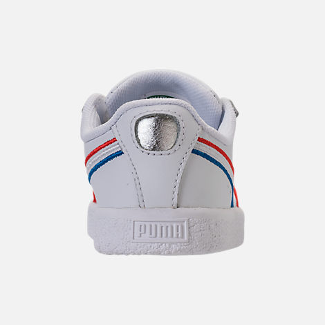 Back view of Boys' Toddler Puma Clyde Casual Shoes in White/Red/Blue
