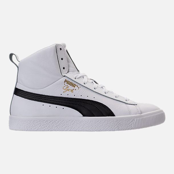 Right view of Men's Puma Clyde Mid Core Foil Casual Shoes in White/Black