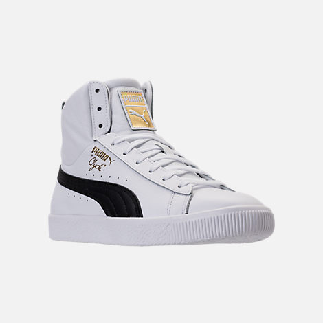 Three Quarter view of Men's Puma Clyde Mid Core Foil Casual Shoes in White/Black