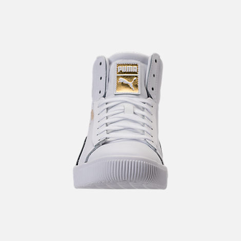 Front view of Men's Puma Clyde Mid Core Foil Casual Shoes in White/Black