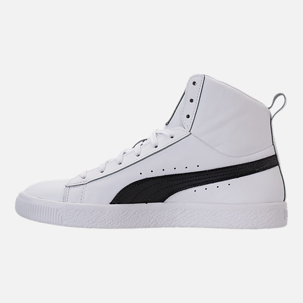 Left view of Men's Puma Clyde Mid Core Foil Casual Shoes in White/Black