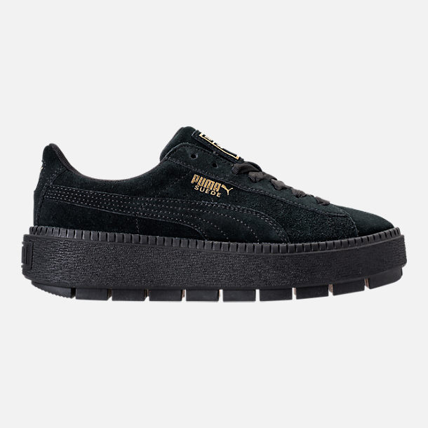Right view of Women's Puma Suede Platform Trace Casual Shoes in Puma Black