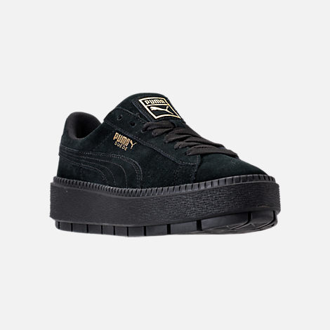 Three Quarter view of Women's Puma Suede Platform Trace Casual Shoes in Puma Black