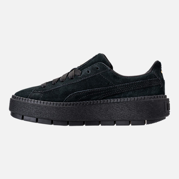 Left view of Women's Puma Suede Platform Trace Casual Shoes in Puma Black