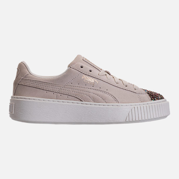 Right view of Women's Puma Suede Platform Crushed Jewel Casual Shoes in Marshmallow/Puma Team Gold