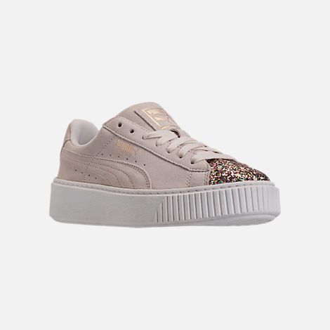 Three Quarter view of Women's Puma Suede Platform Crushed Jewel Casual Shoes in Marshmallow/Puma Team Gold