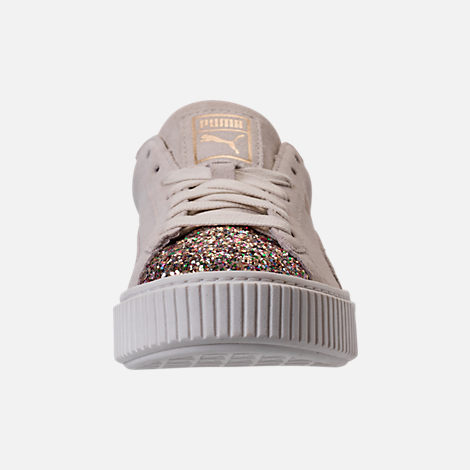Front view of Women's Puma Suede Platform Crushed Jewel Casual Shoes in Marshmallow/Puma Team Gold