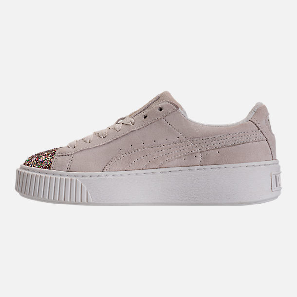 Left view of Women's Puma Suede Platform Crushed Jewel Casual Shoes in Marshmallow/Puma Team Gold
