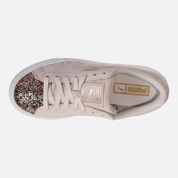 Top view of Women's Puma Suede Platform Crushed Jewel Casual Shoes in Marshmallow/Puma Team Gold