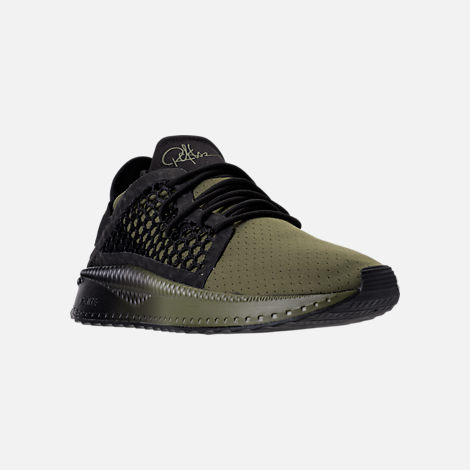 Three Quarter view of Men's Puma x Young & Reckless Tsugi Netfit Casual Shoes in Black/Forest Green