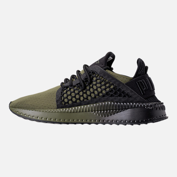 Left view of Men's Puma x Young & Reckless Tsugi Netfit Casual Shoes in Black/Forest Green