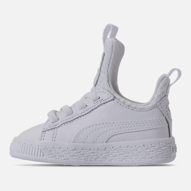Left view of Girls' Toddler Puma Basket Fierce Casual Shoes in Pearl/Puma White
