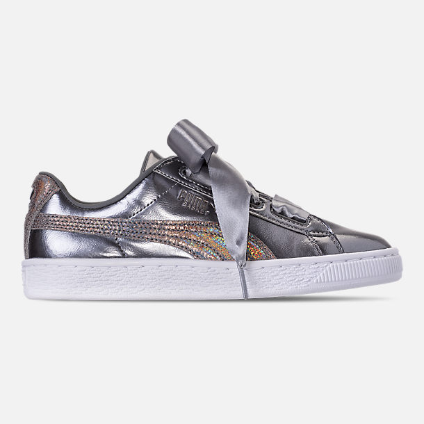 Right view of Girls' Big Kids' Puma Basket Heart LunaLux Casual Shoes in Smoke Pearl