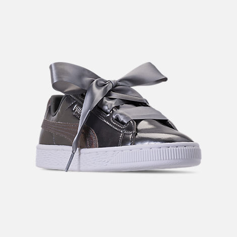 Three Quarter view of Girls' Big Kids' Puma Basket Heart LunaLux Casual Shoes in Smoke Pearl