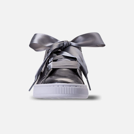 Front view of Girls' Big Kids' Puma Basket Heart LunaLux Casual Shoes in Smoke Pearl