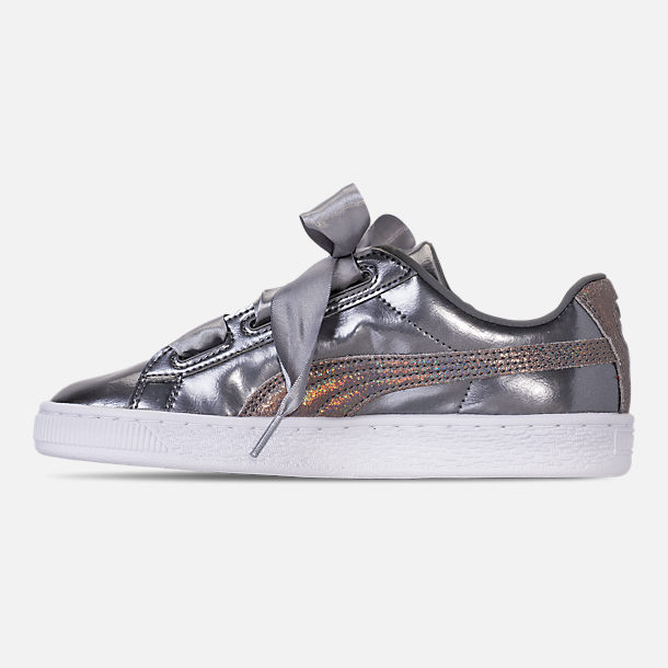Left view of Girls' Big Kids' Puma Basket Heart LunaLux Casual Shoes in Smoke Pearl