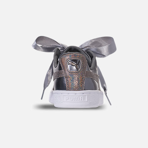 Back view of Girls' Big Kids' Puma Basket Heart LunaLux Casual Shoes in Smoke Pearl