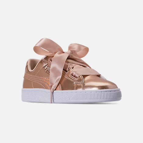 Three Quarter view of Girls' Big Kids' Puma Basket Heart LunaLux Casual Shoes in Cream Tan