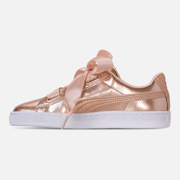 Left view of Girls' Big Kids' Puma Basket Heart LunaLux Casual Shoes in Cream Tan