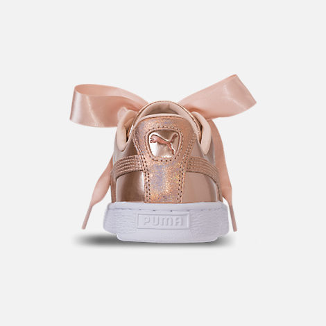 Back view of Girls' Big Kids' Puma Basket Heart LunaLux Casual Shoes in Cream Tan