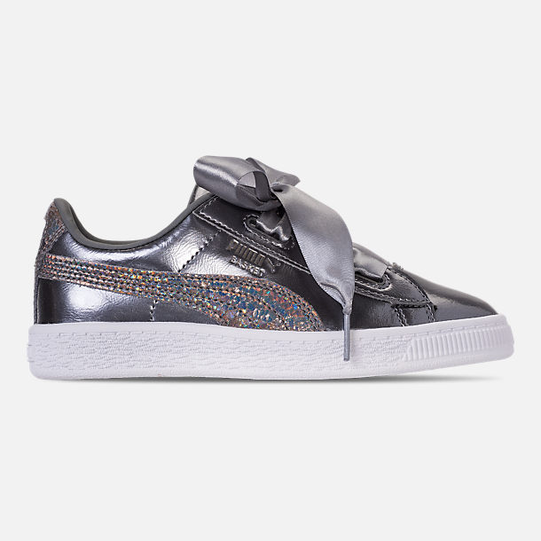 Right view of Girls' Preschool Puma Basket Heart LunaLux Casual Shoes in Pearl