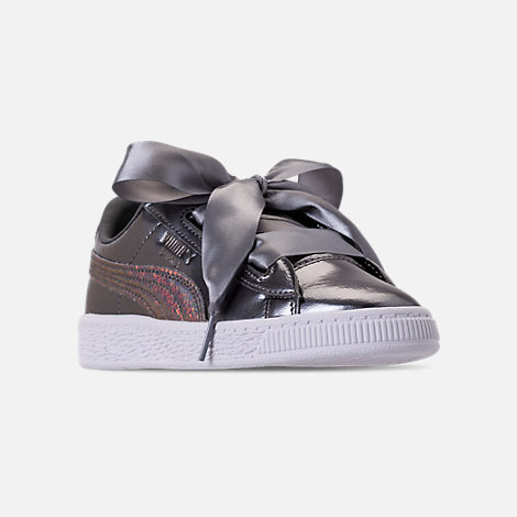 Three Quarter view of Girls' Preschool Puma Basket Heart LunaLux Casual Shoes in Pearl