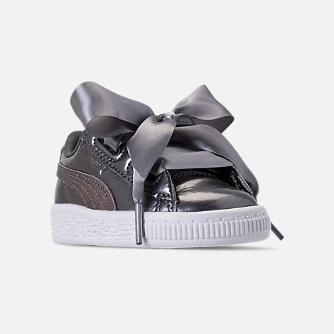 Three Quarter view of Girls' Toddler Puma Basket Heart LunaLux Casual Shoes in Smoked Pearl