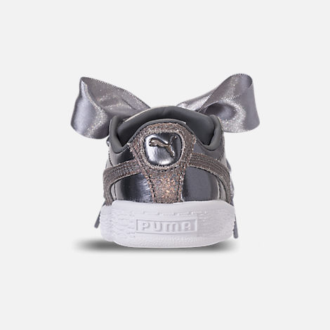Back view of Girls' Toddler Puma Basket Heart LunaLux Casual Shoes in Smoked Pearl