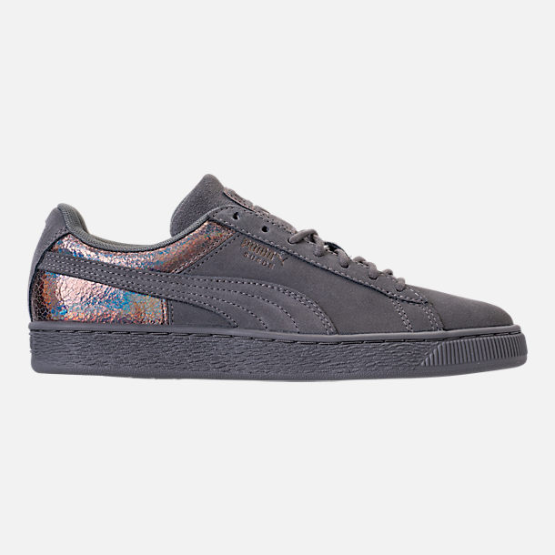 Right view of Women's Puma Suede LunaLux Casual Shoes in Smoke Pearl