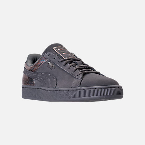 Three Quarter view of Women's Puma Suede LunaLux Casual Shoes in Smoke Pearl