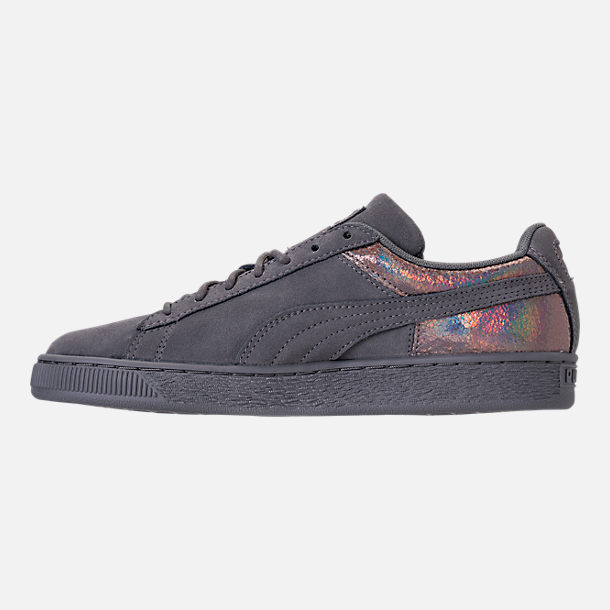 Left view of Women's Puma Suede LunaLux Casual Shoes in Smoke Pearl