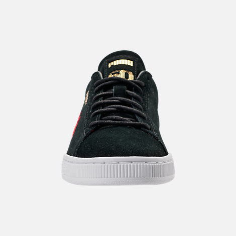 Front view of Women's Puma Suede Classic Embroidered Casual Shoes in Black