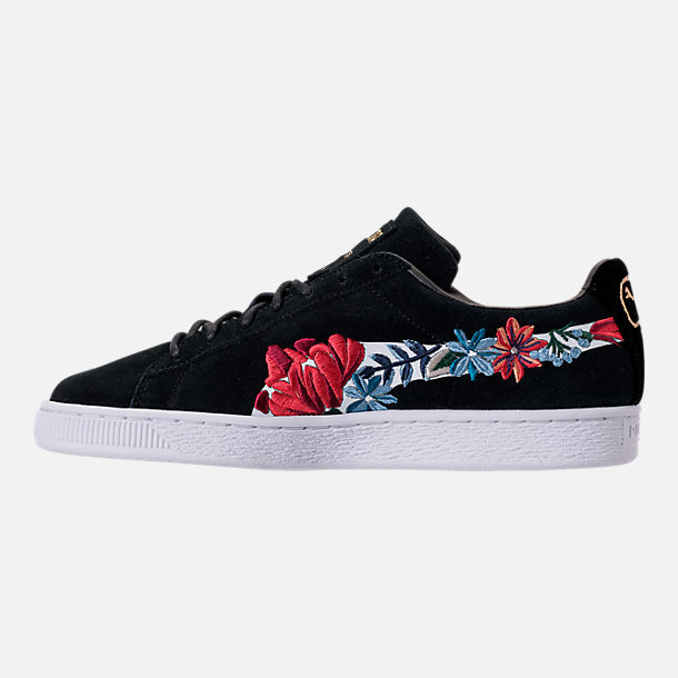 Left view of Women's Puma Suede Classic Embroidered Casual Shoes in Black
