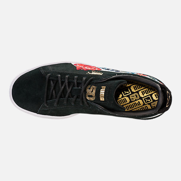 Top view of Women's Puma Suede Classic Embroidered Casual Shoes in Black